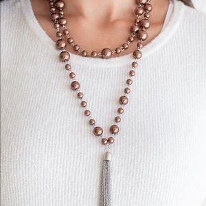 Long brown beaded tassel necklace